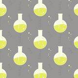 Vector test tube glassware. Chemistry pattern. Pharmacology background texture. Science print Royalty Free Stock Image