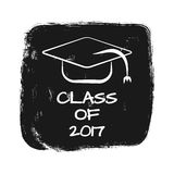 Vector with text Class of 2017. Silhouette of academic cap. Torn grunge background. Print, card, sticker, template for T-shirt. White, black royalty free illustration