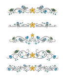 Vector text dividers with blue jellyfish. Fish and starfish on white field Royalty Free Stock Image