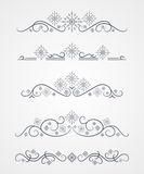 Vector text dividers with dark-blue winter snowflake. On gradient field stock illustration
