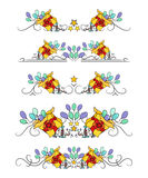 Vector text dividers with hand-drawn present and balloons Royalty Free Stock Images