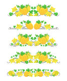 Vector text dividers with orange melons and flowers in origami style Stock Image