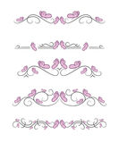 Vector text dividers with pink butterfly Stock Photo