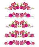 Vector text dividers with pomegranate and flower Stock Photo