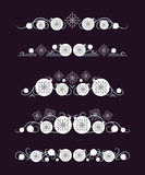 Vector text dividers with white Christmas ball and grey snowflake Stock Images