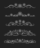 Vector text dividers with white snowflake Stock Image