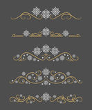 Vector text dividers with white snowflakes and gold lines Stock Image