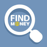 Vector text find money within the magnifier. On blue background Stock Photos