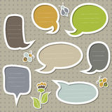 Vector text frames. Collection of cute speech bubbles with bees and flower Stock Photos