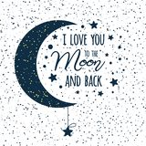 Vector Text I Love You To The Moon And Back. St Valentines Day Inspirational Quote Darl Blue Moon Sky Full Of Stars Stock Photo