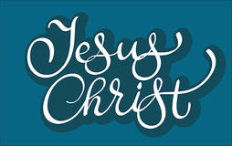 Vector text Jesus Christ on blue background. Calligraphy lettering illustration EPS10 Royalty Free Stock Photos