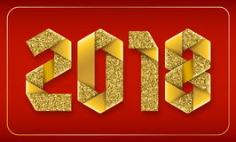 Vector text 2018 made of interlaced gold glitter wrapping ribbon. 2018 text made of interlaced gold glitter wrapping ribbons on red background. New Year gift Stock Photos