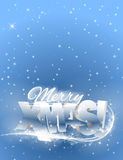 Vector text merry xmas. Christmas red banner with blue background Royalty Free Stock Photo