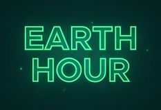 Vector text in neon green style to the Earth Hour stock photography