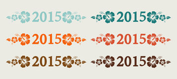 Vector 2015 text in retro colors Royalty Free Stock Images