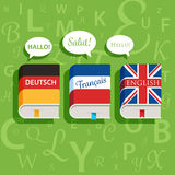 Vector textbooks of English German and French grammar.  Stock Photo