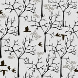 Vector texture with birds and trees Stock Photos