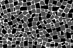 Vector texture of black and white asymmetric decorative tiles wall Royalty Free Stock Photo
