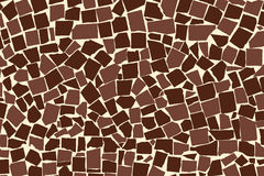 Vector texture of brown two colored asymmetric decorative tiles wall Stock Photo