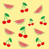 Vector texture of a cherry fruit and watermelon is  on a colored background. Illustration of cherry, watermelon Stock Image
