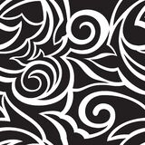 Vector Texture Of Black Color Isolated On White Background Spirals And Broken Abstract Shapes. Floral Pattern For Stock Images