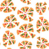 Vector texture of pattern with margherita pizza. Slices in a flat style. Seamless background Stock Photo