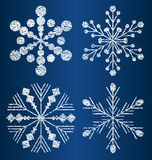 Vector textured snowflakes 2 Royalty Free Stock Photography