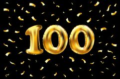 Vector 100th celebration gold balloons and golden confetti glitters. 3d Illustration design for your greeting card, invitation and. Celebration party of hundred Stock Illustration