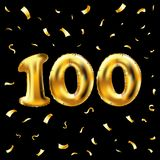 Vector 100th celebration gold balloons and golden confetti glitters. 3d Illustration design for your greeting card, invitation and. Celebration party of hundred Royalty Free Illustration