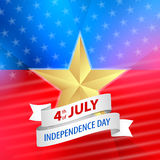 Vector 4th of july background with ribbon Stock Photography