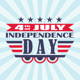 Vector 4th of July festive design. Independence Day background with stars, bunting and lettering. Royalty Free Stock Photo