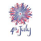 Vector 4th of july illustration. American Independence day. Firework and lettering in flag`s colors. Vector 4th of july illustration. American Independence day Royalty Free Stock Image
