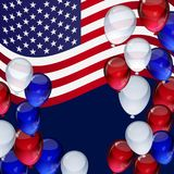 4th July Independence day background with ballons, striped. Vector 4th July Independence day background with ballons, stripes and stars Royalty Free Stock Photography