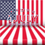 Vector 4th of July Independence Day on blurred USA national flag. Template for Independence Day. 4th of July Independence Day on blurred USA national flag Royalty Free Stock Photos