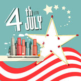 Vector 4 th July Title with American Flag. Independence Day Retro Flat Design Illustration Stock Photography