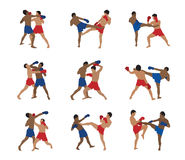 Vector thai boxing set Royalty Free Stock Photography