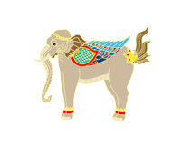 Vector of Thai Elephant. Traditional thai art, white backround Royalty Free Stock Photo