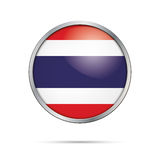 Vector Thai flag Button. Thailand flag in glass button style. Royalty Free Stock Photos