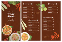 Vector of Thai foods restaurant menu template. Thai dish and ingredients on wooden background vector illustration