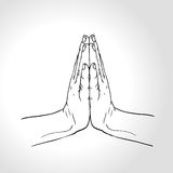 Vector Thai greeting.Two Hands Pressed Together in Prayer Position. Stock Photo