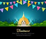 Vector thailand tourist landmark worshipers on important buddhist Royalty Free Stock Photography