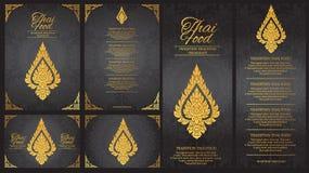 Vector Thais het menumalplaatje van het voedselrestaurant Thaise Traditie Royalty-vrije Stock Fotografie