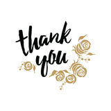 Vector thank you banner decorated gold roses shape. Hand draw floral ornament background. Royalty Free Stock Photos