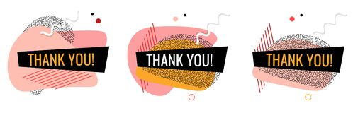 Vector thank you banners. Fluid shapes with flow elements. Modern graphic banners. Abstract memphis geometric templates. Template royalty free illustration