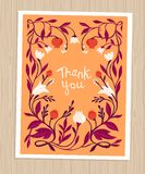 Vector thank you card in flat style stock illustration