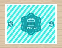 Vector thank you card in flat style Royalty Free Stock Images