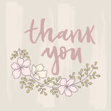 Vector thank you card with floral ornament background. Vector thank you card with flowers and Complex background Stock Images