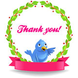 Vector Thank you label with funny bird Stock Image