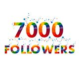 Vector thanks design template for network friends and followers. 7000 followers card. Image for Social Networks. Web user celebrates a large number of Vector Illustration