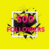 Vector thanks design template for network friends and followers. 500 followers card. Image for Social Networks. Web user celebrates large number of subscribers vector illustration
